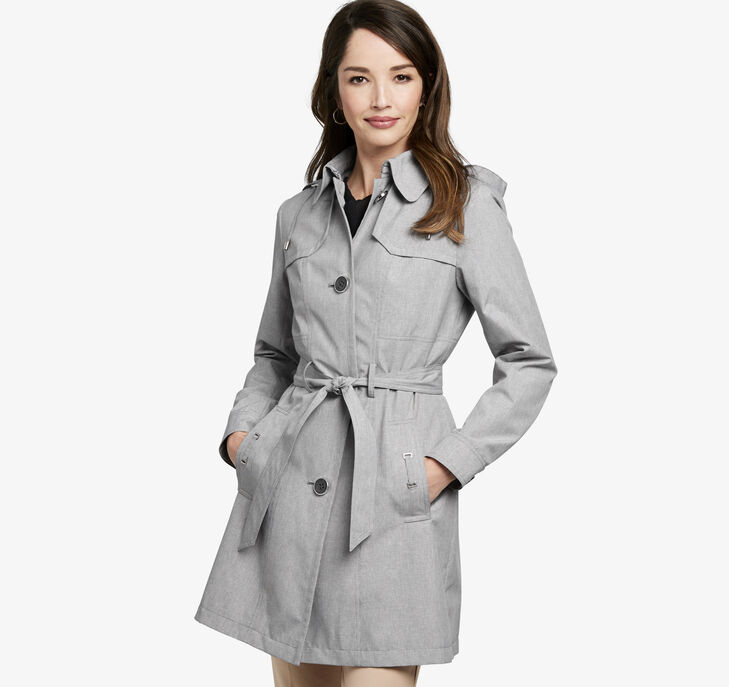 Micro-Houndstooth Hooded Trench