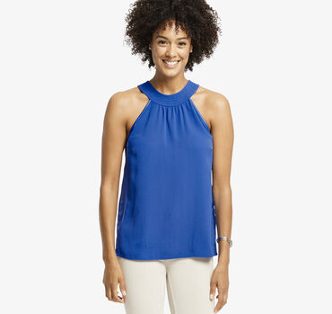 High-Neck Sleeveless Blouse