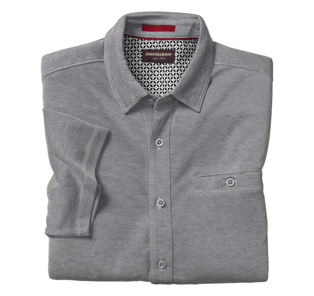 Button-Front Birdseye Shirt Details | Tuggl