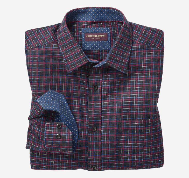 European Dark Layered Check Shirt