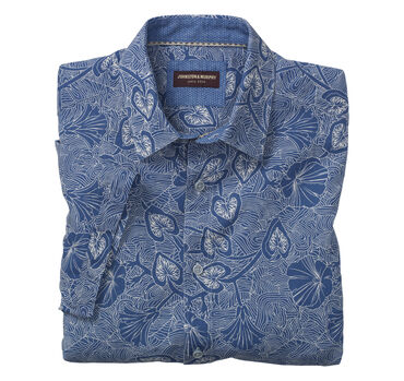 Tropical Print Linen Camp Shirt
