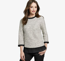Layered-Hem Slub-Knit Pullover