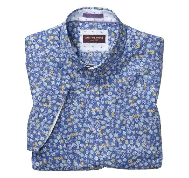 Flower Patch Print Short-Sleeve Shirt