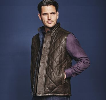 Italian Quilted-Leather Reversible Vest