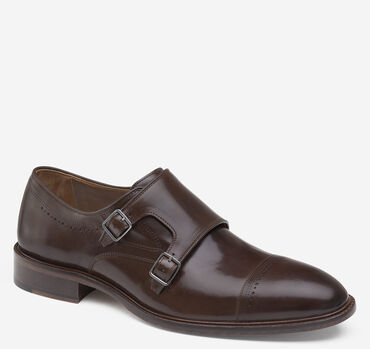 Sayer Cap-Toe Double-Buckle Monk Strap