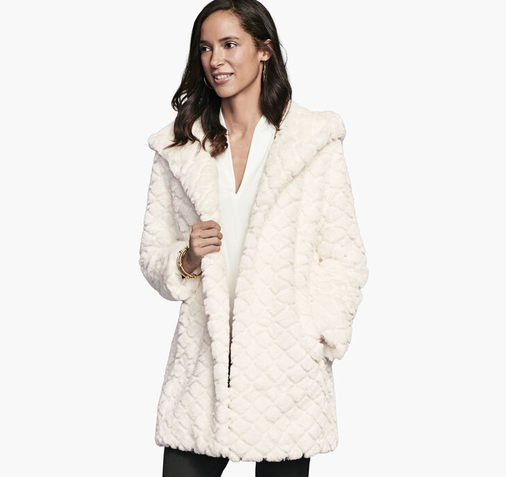 Textured Faux Fur Hooded Coat