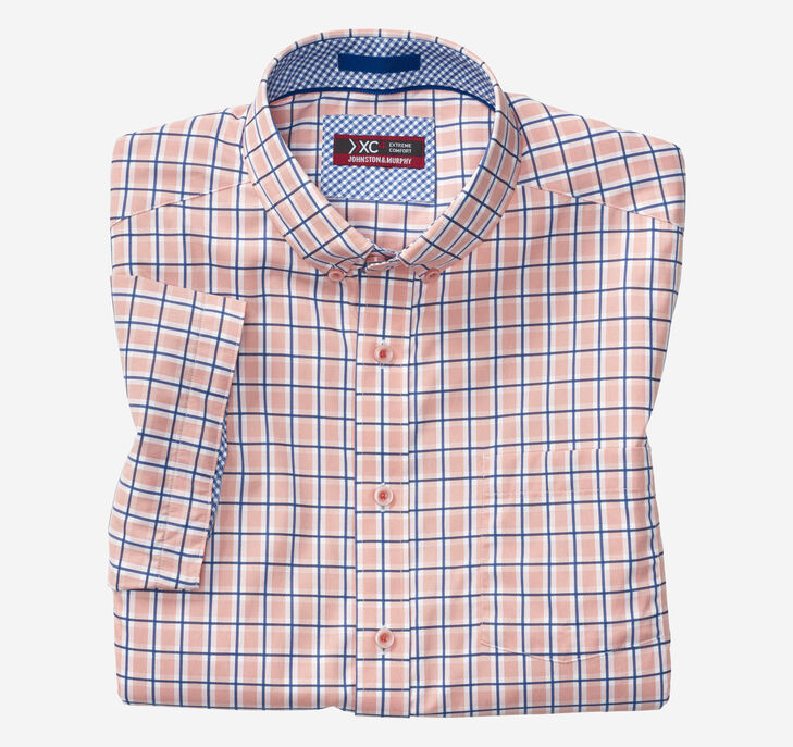 XC4® Windowpane Button-Collar Short-Sleeve Shirt