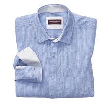 Mini Grid Slub Washed Linen Shirt