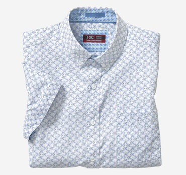 XC4 Pin Dot Arrow Print Short-Sleeve Stretch Shirt