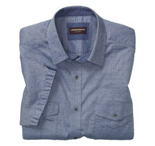 Chambray Clip Double-Pocket Short-Sleeve Shirt