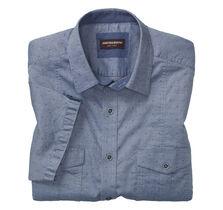 Chambray Clip Double-Pocket Short-Sleeve Shirt