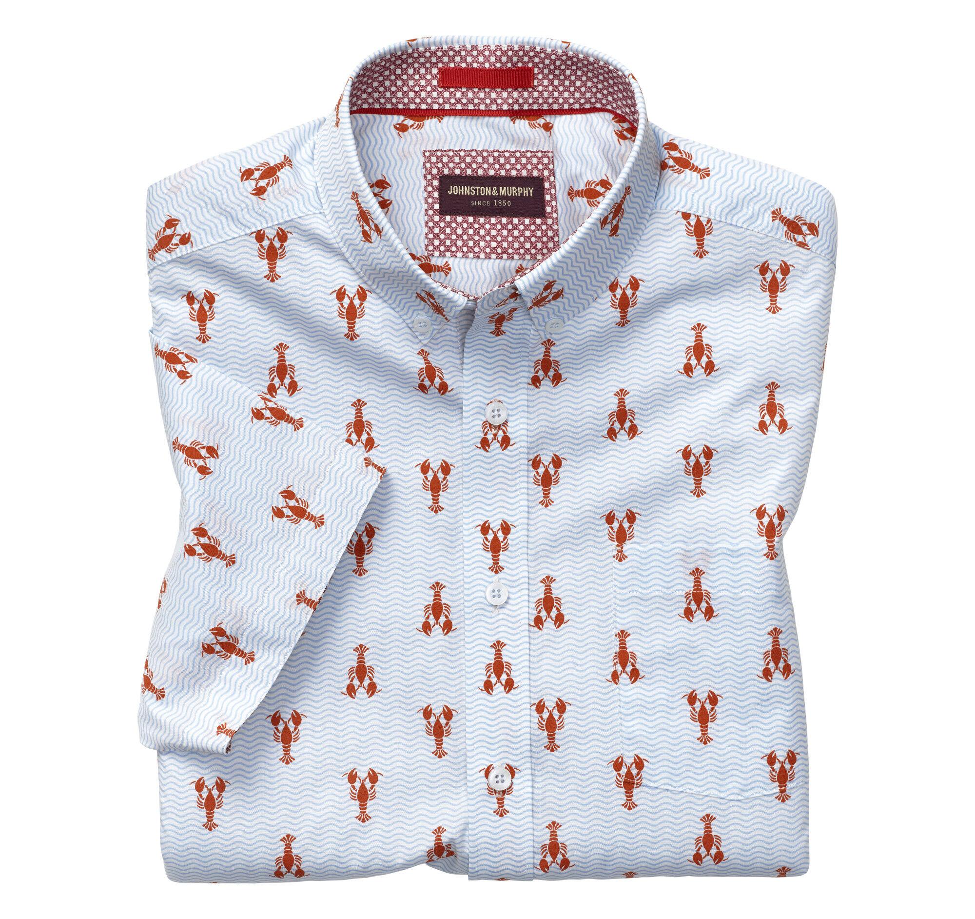 8c9eacb78 Lobster Print Short-Sleeve Shirt | Johnston & Murphy
