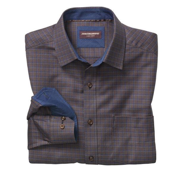 Textured Arrow Windowpane Point-Collar Shirt
