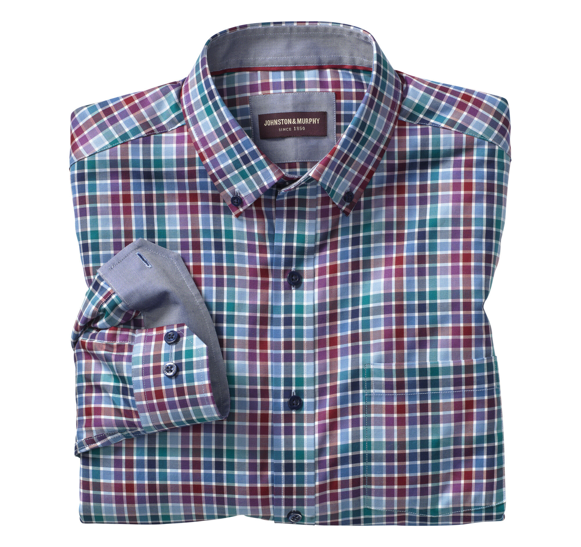 Multi-Color Twill Check Button-Down Collar Shirt | Johnston & Murphy