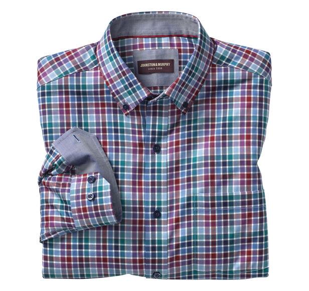 Multi-Color Twill Check Button-Down Collar Shirt