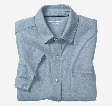 Short-Sleeve Button-Front Knit Shirt