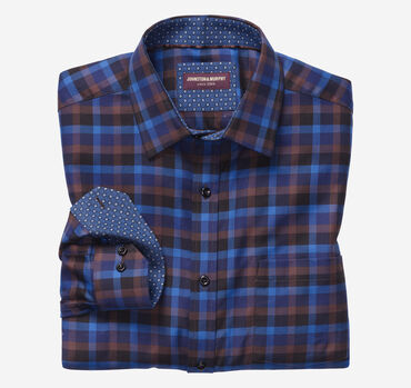 European Dark Herringbone Gingham Shirt