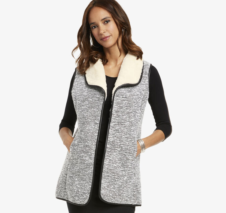 Faux-Fur Lined Tweed Vest