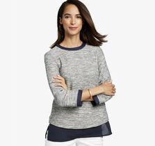 Layered-Hem Slub-Knit Pullover
