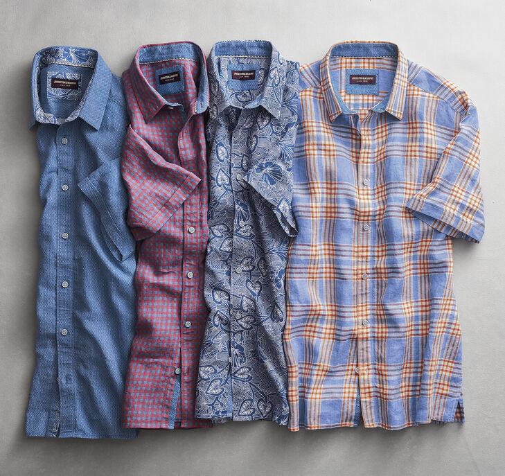 Tropical Print Linen Camp Shirt
