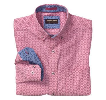 Diamond-Print Birdseye Button-Collar Shirt