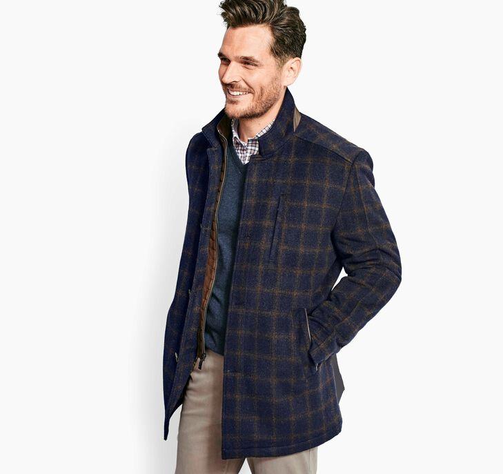 Windowpane Wool Coat with Bib