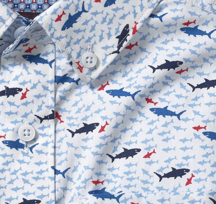 Boys Short-Sleeve Patterned Shirt