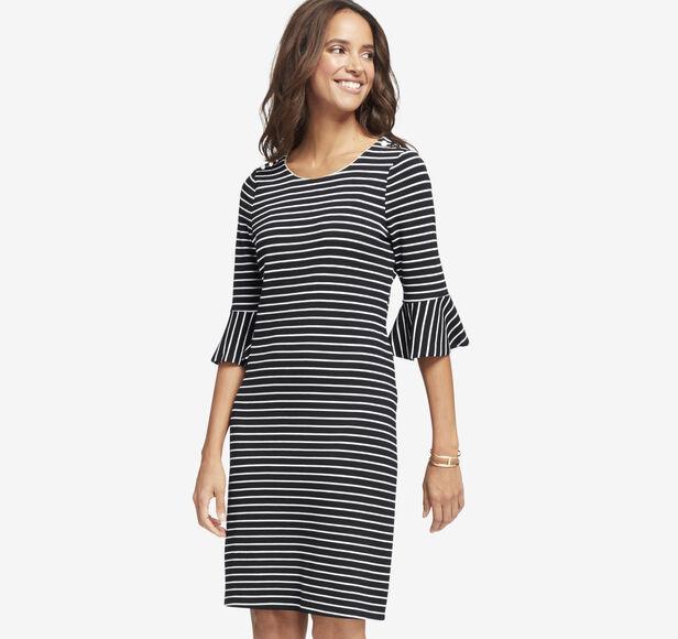 Striped Bell-Sleeve Dress