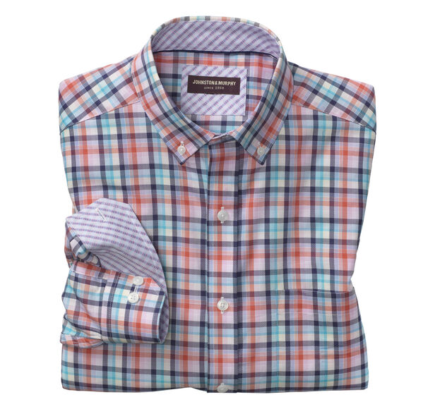 Colorful Plaid Oxford Button-Down Collar Shirt Details | Tuggl