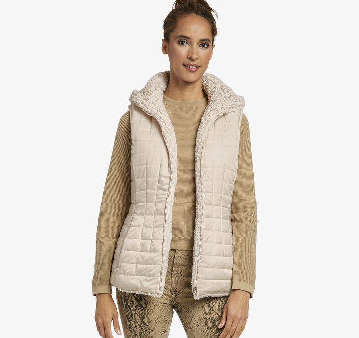 Reversible Faux-Fur Hooded Vest