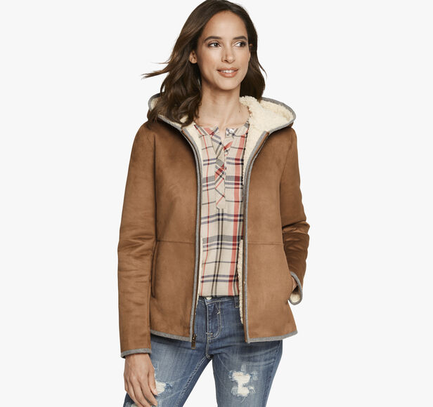 Faux-Suede Hooded Jacket