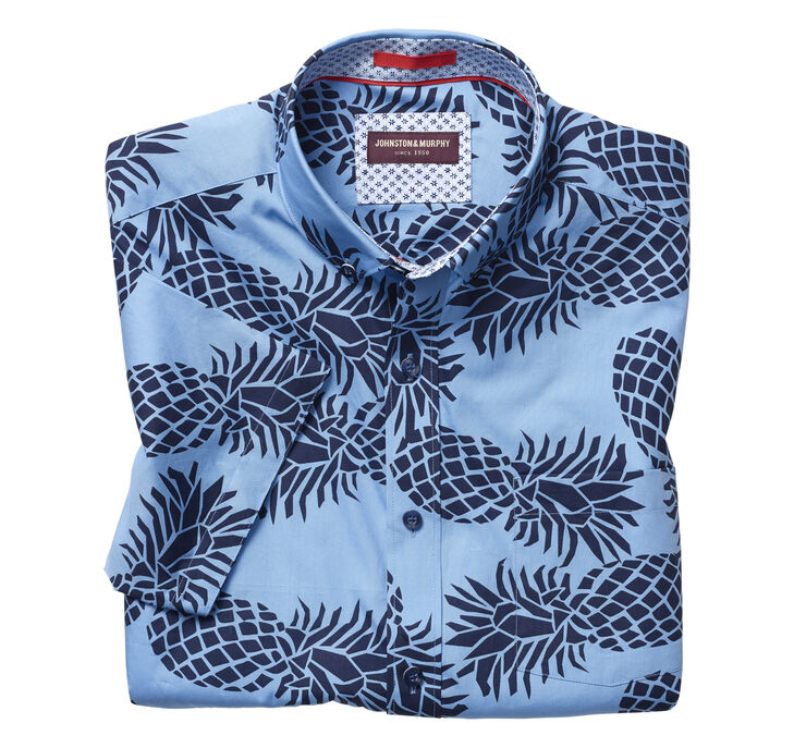 Large Pineapple Print Short-Sleeve Shirt