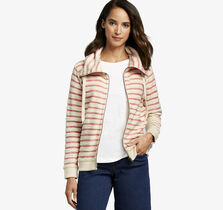 Striped Knit Zip-Front Jacket