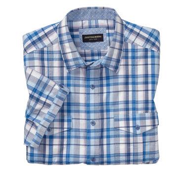 Raised Plaid Double-Pocket Short-Sleeve Shirt