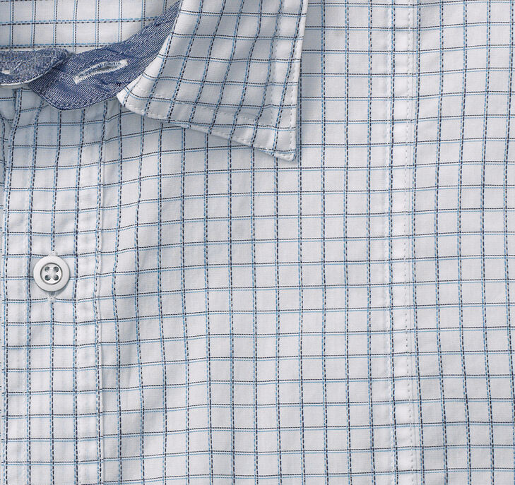 Textured Dash Check Double-Pocket Short-Sleeve Shirt