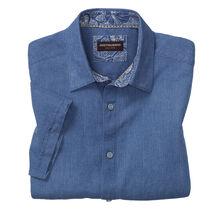 Mini Oval Print Linen Camp Shirt