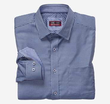XC4 Houndstooth Check Point-Collar Shirt