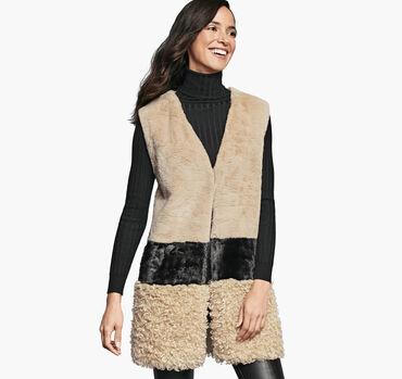 Mixed-Media Faux-Fur Vest