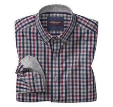 Heather Gingham Button-Collar Shirt