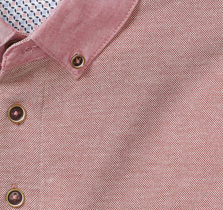 Woven-Collar Polo
