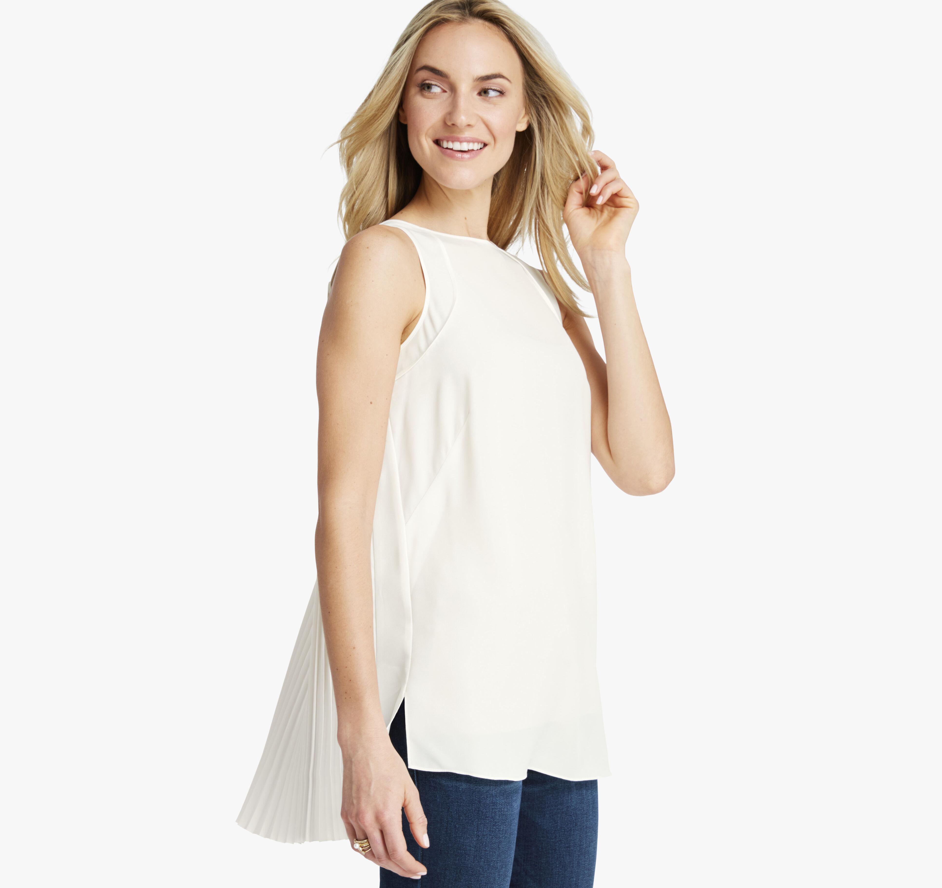 Women's Pleat-Back Sleeveless Top