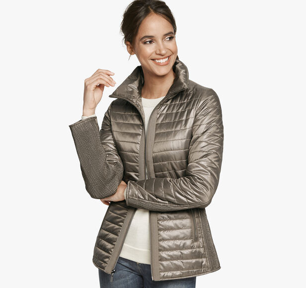 Knit-Back Quilted Jacket