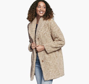 Button-Front Teddy Coat