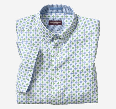 Linear Diamond Print Short-Sleeve Shirt