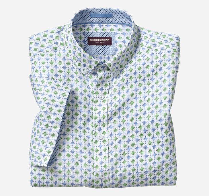 Linear Diamond Print Short-Sleeve Shirt