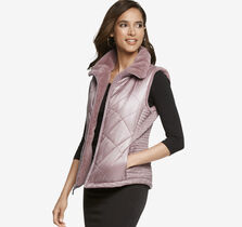 Faux-Fur Trimmed Quilted Vest