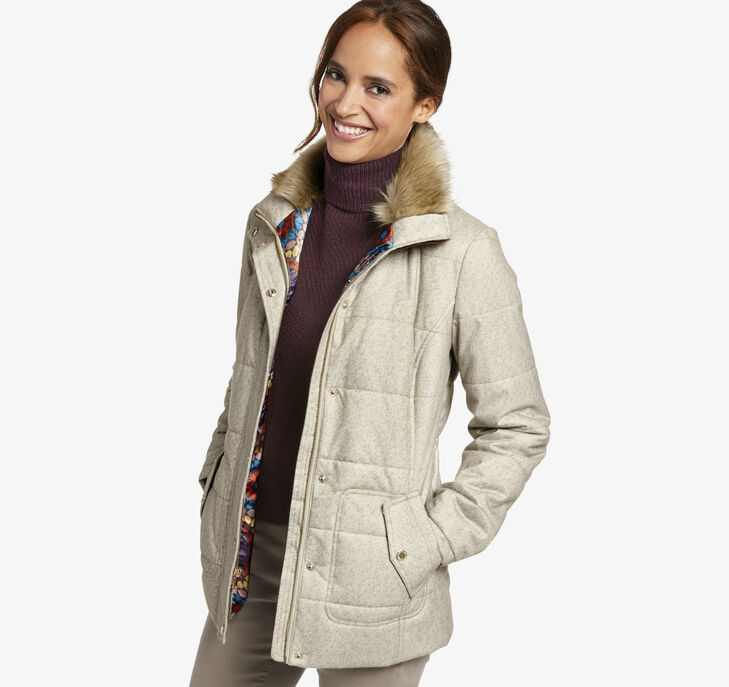 Quilted Jacket with Faux-Fur Collar