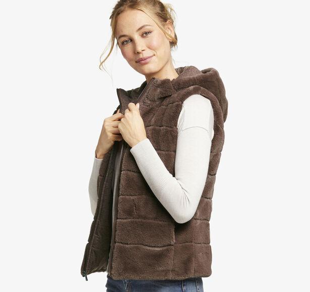 Reversible Faux-Fur Teddy Hooded Vest