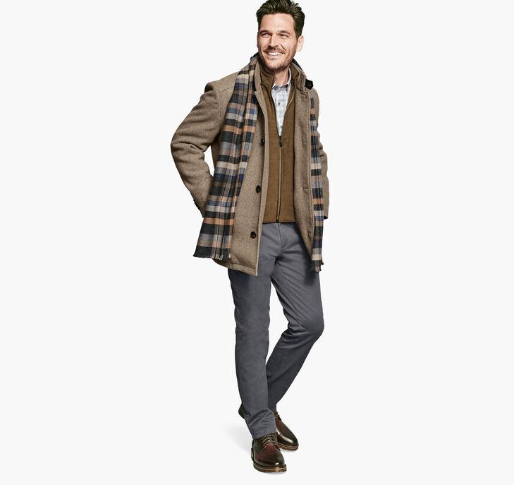 Heathered Wool Coat with Bib