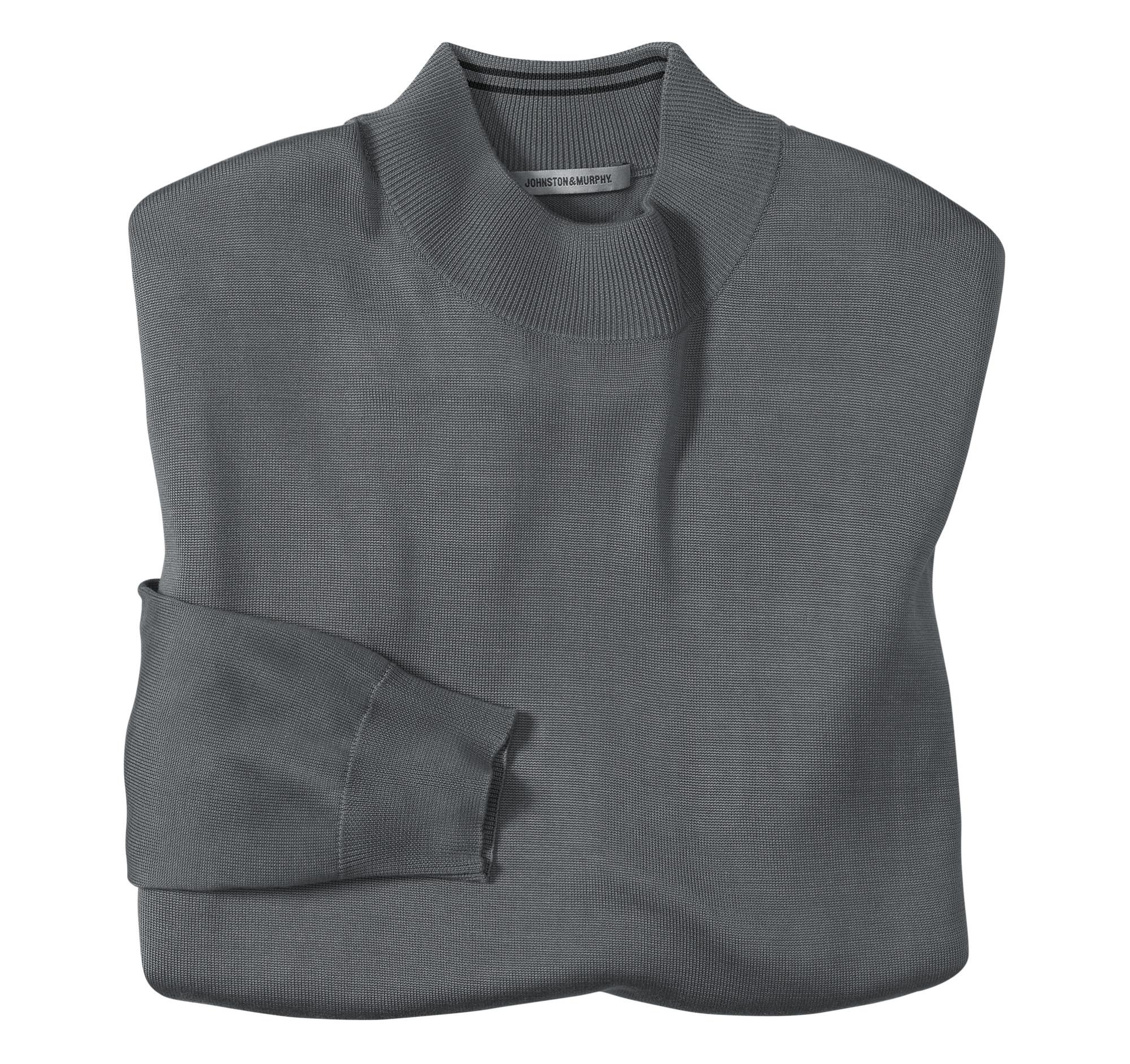 Long sleeve silk knit mock neck shirt johnston murphy for Silk long sleeve shirt